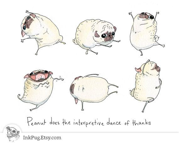 Dancing Pugs Thank You Card a Cute Pug Dog Thank You by InkPug