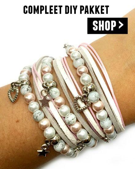 diy wikkelarmband pakket - licht roze met grijs en wit