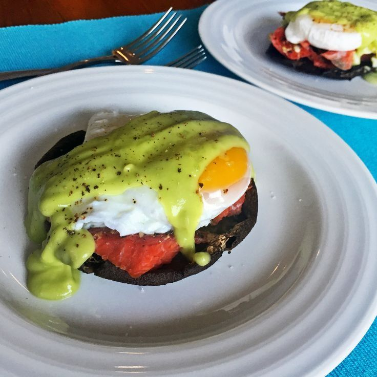 This healthy eggs benedict recipe calls for smoked salmon and avocado sauce. | Health.com