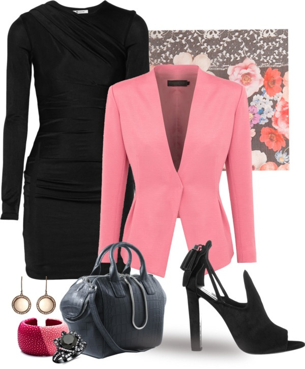 """""""LBD with Coral Jacket"""" by kathy-martenson-sanko ❤ liked on Polyvore"""