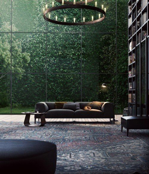 #Fantastical interior.  Meld this #dreamy #interior into a #Rising #Barn. Risingbarn.com.  #green #tree #interior #floor #to #ceiling #windows #couch #sofa #oriental #rug #book #case #high #ceilings #open #large #fresh #style #industrial #chandelier