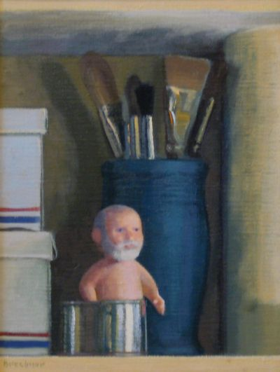 """Tom (Doll) and Brushes"" oil painting by the late, Thomas S. Buechner. More of his available still-lifes may be viewed here: http://www.westendgallery.net/photo-gallery/artist-gallery-thomas-buechner-still-lifes"
