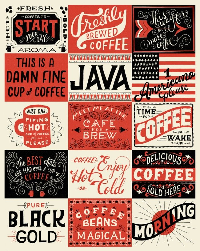 Exquisite Hand Lettering and Illustration Mary Kate McDevitt graphics. The copy is just as good. If you love coffee you know all of this is true.