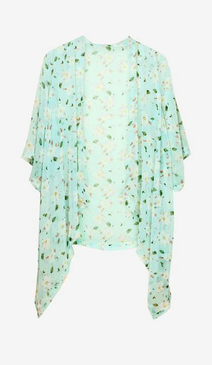 Floral Crop Sleeves Kimono - Open Front Top
