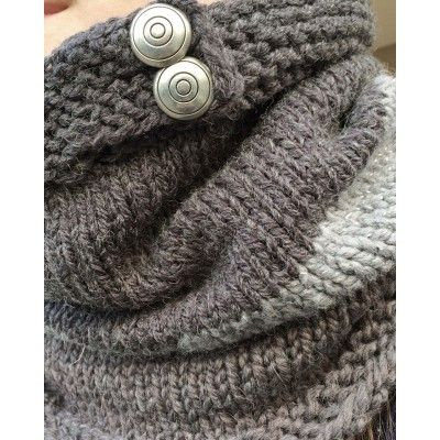 Hand-Knitted Tube Scarf - Greys