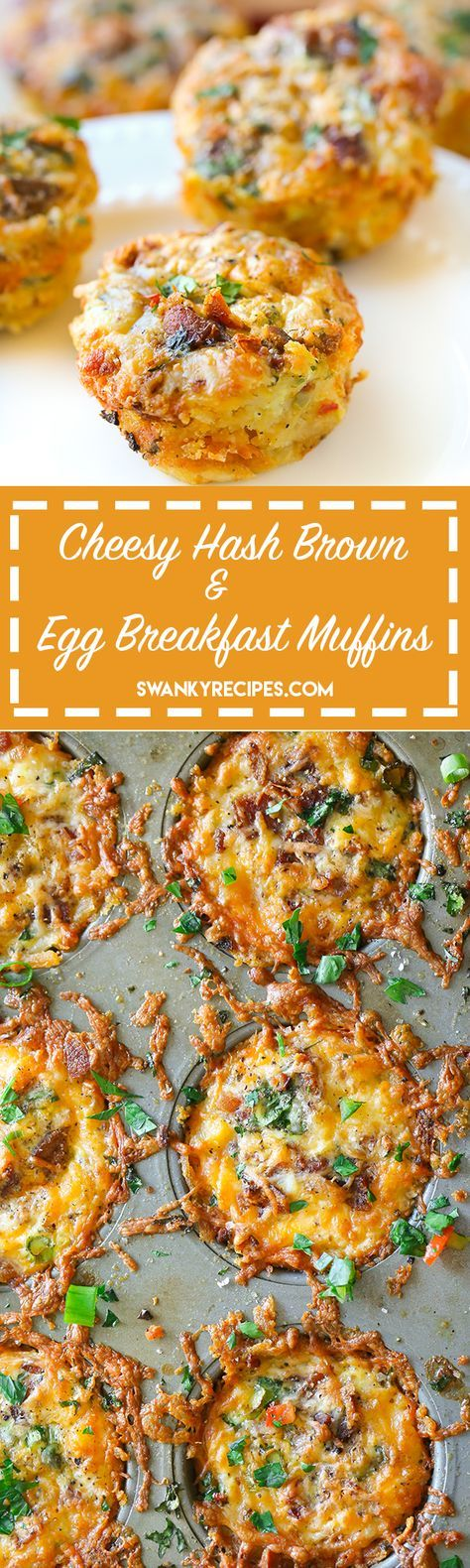 Cheesy Hash Brown and Egg Breakfast Muffins - Cheesy hash brown, bacon and egg breakfast muffins. These muffin tin breakfast bites are stuffed with cheesy goodness: crispy bacon, hash browns, eggs, chopped vegetables, and herbs. #BordenCheeseLove #ad