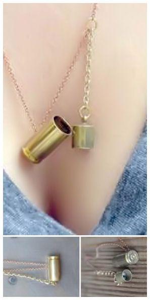 9MM Bullet Locket Necklace - Holly!