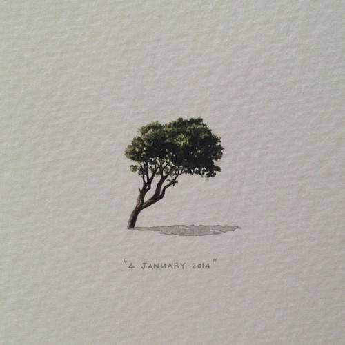 Lorraine Loots - 365 Postcards for Ants 'Permanently wind-warped Seapoint trees', 4 January 2014, day 4