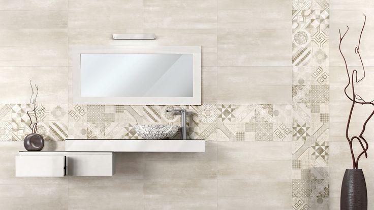 Baño de lineas modernas y vintage a la vez, conseguimos esto al utilizar el decorado hidráulico.