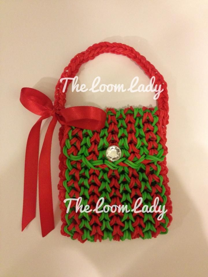 Rainbow Loom FB page  A Christmas MINI PURSE  Design tutorial by Craft    Rainbow Loom Mini Purse Craft Life