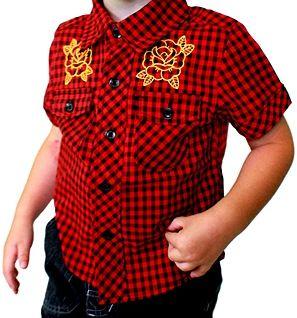 $15 Funky red/black gingham  shirt