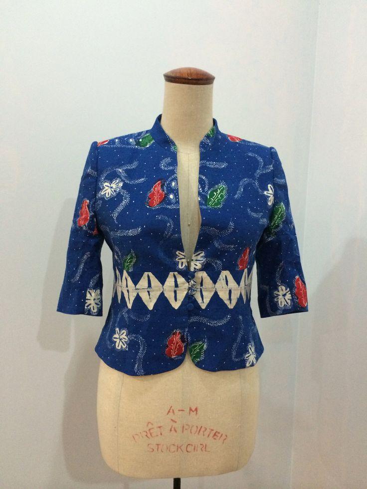 Jackie blazer made from batik cap Cirebon. Blazer is made by Dongengan (Facebook: https://m.facebook.com/dongengan)