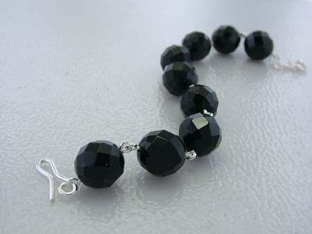 925 Sterling Silver Bracelet w/ Spherical Black Spinel Gems (Order)