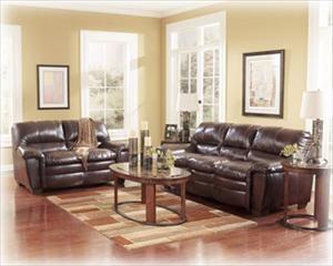 Nebraska Furniture Mart – Ashley 2-Piece Brown Bonded Leather Living Room Set (upstairs furniture set)