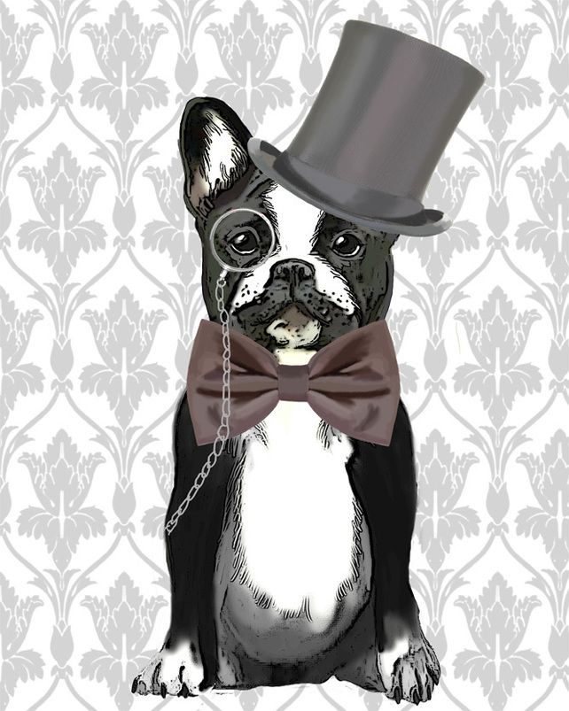 Monsieur Bulldog 8x10 inch Art Print Poster French Bulldog, Dog Picture £16.00