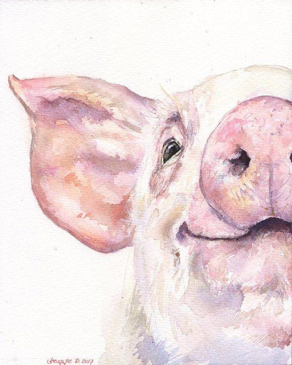 Portrait de cochon heureux Print de l'animal de ferme rose doux peinture aquarelle, amour artwork jolie peinture Candy Decor
