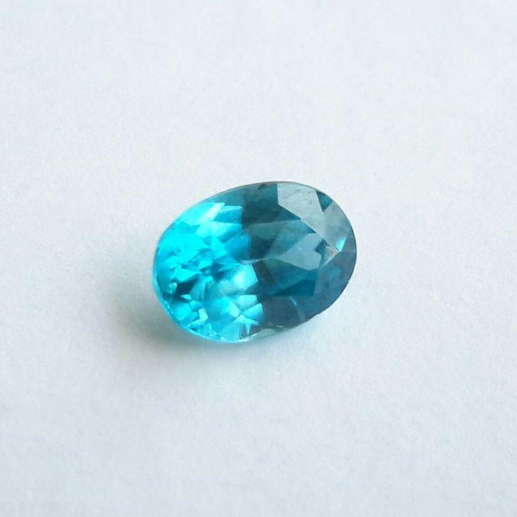 1.55 cts Blue Zircon, genuine loose gemstone. 9 mm x 6 mm x 4mm