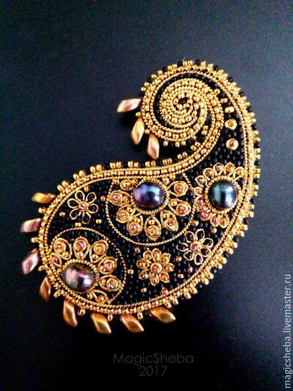 Купить Брошь Кашмирская сказка, вышивка золотом, пейсли - золотой, черно-золотой, золотая брошь