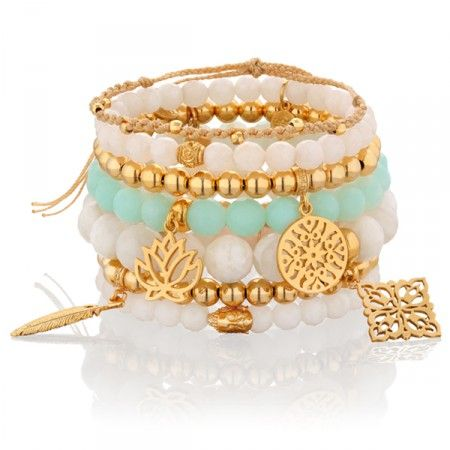 PASTELOWY DUET.  #bracelet #mokobelle #nude #bransoletka #spring #fashion #collection #jewelry #jewellery #accessories #mint #gold