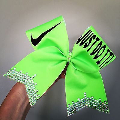 Just Do It Lime Green Spandex Cheer Bow Crystal Rhinestone Bling Nike Cheerbow                                                                                                                                                                                 More