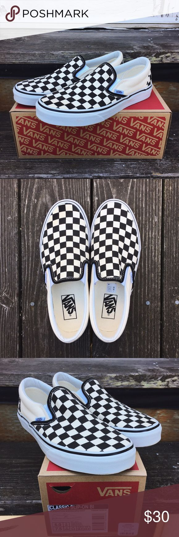 Checkered Slip On Vans Vans slip on shoes in the checkered pattern. Women's size 7.5 and men's size 6. Pretty good condition! Only worn 2x, no major damage to soles and only slightly dirty. Also box is available. If purchasing, please comment if you want the box otherwise it will be sent without it. Vans Shoes Sneakers