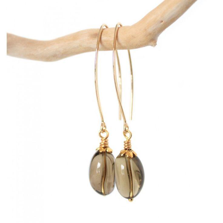 Gouden oorbellen (elips) met edelstenen rookkwarts - www.Mbijoux.nl #elips #earrings #oorbellen #rookkwarts #smokeyquartz