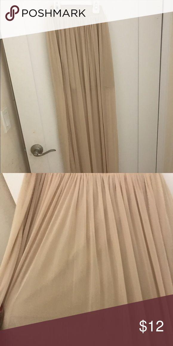 Beige maxi skirt Sheer maxi skirt with mini skirt inside for coverage. Skirts Maxi