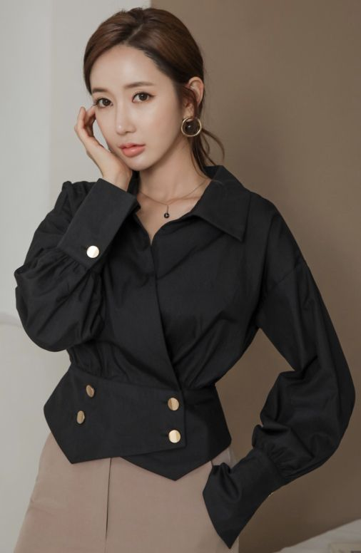 b34bf7fe StyleOnme_Double-Breasted Gold Button Collared Blouse #black #collared # blouse #chic #koreanfashion #kstyle #kfashion #falltrend #officelook