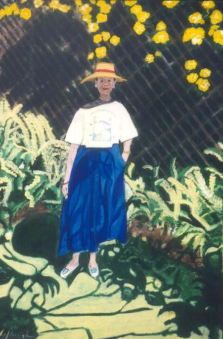 Shadows - Acrylic on Board 1996 Patsy in her garden