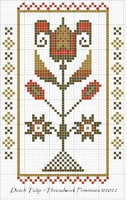 Dutch Tulip Cross Stitch Freebie