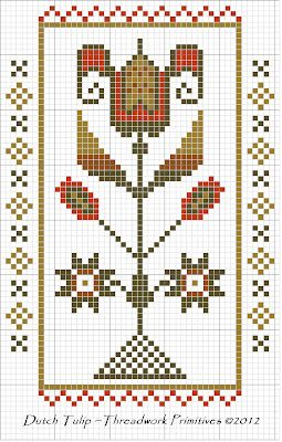 Dutch Tulip Cross Stitch Freebie  http://threadworkprimitives.blogspot.com/