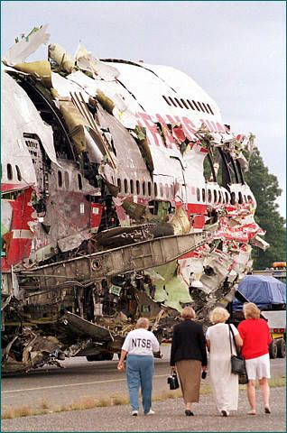 July 17, 1996 - Transnational World Airlines (TWA) Flight 800 Explosion: a Boeing 747-131 jetliner, took off from John F. Kennedy airport and gradually ascended along the Long Island shore. It was on its way to Rome via a stop in Paris.  About 12 minutes into the flight, an explosion occurred, followed by several others. The jetliner, blasted to pieces, crashed into the Atlantic Ocean near East Moriches, New York. All 230 people onboard died — 212 passengers and 18 crewmembers.