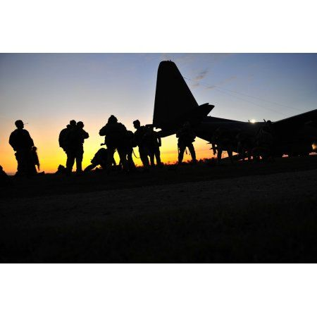 US special forces soldiers prepare to board a KC-130 aircraft Canvas Art - Stocktrek Images (35 x 23)