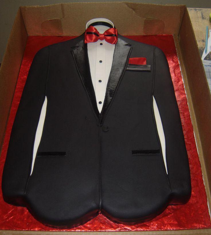 Grooms Cake: Full Sheet Red Velvet Cake w/ Vanilla Buttercream and Handmade Bow tie w/ red handkerchief