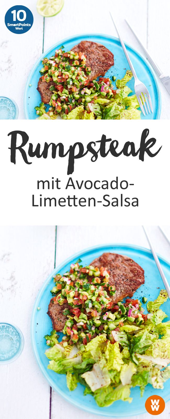 Rumpsteak mit Avocado-Limetten-Salsa | 10 SmartPoints/Portion, Weight Watchers, fertig in 20 min.