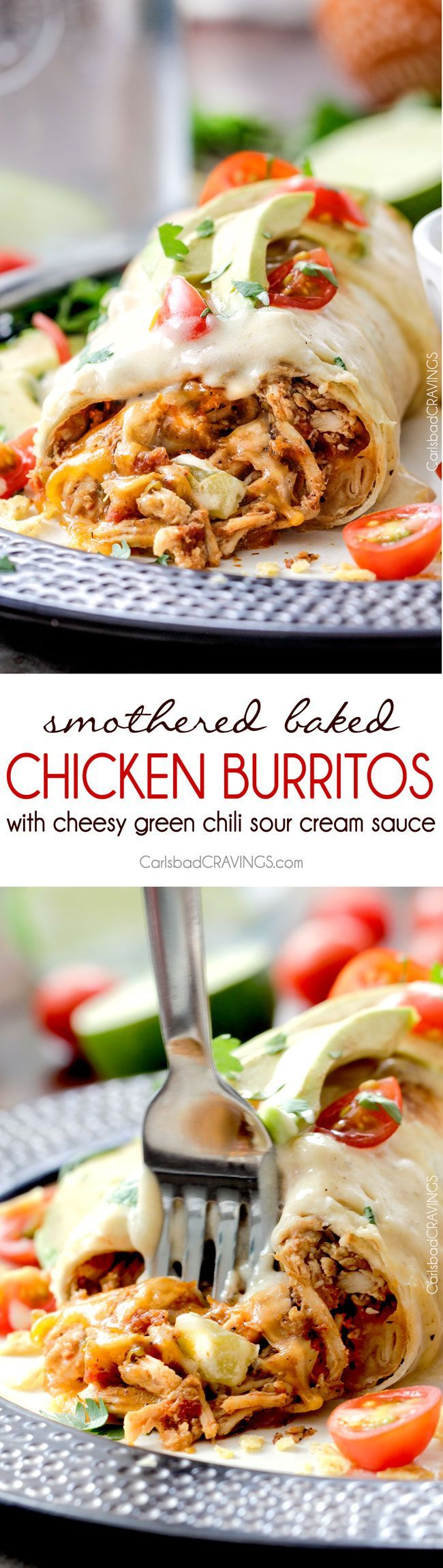 "Smothered Baked Chicken Burritos AKA ""skinny chimichangas"" are restaurant delicious without all the calories! made super easy by stuffing with the BEST slow cooker Mexican chicken and then baked to golden perfection and smothered in most incredible cheesy green chili sour cream sauce.:"