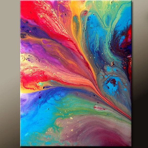 Rainbow Skies - NEW Abstract Art Painting 16x20 Contemporary Modern Art by wostudios, $59.00