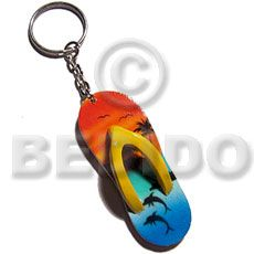 Giveaways 60mmx27mm Colorful Beach Slippers Hand Painted Keychains