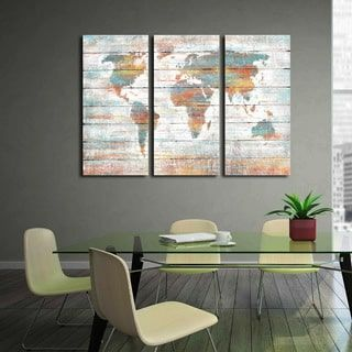 Shop for 'Colorful World Map' Prints with Hand-painted Texture Gallery-wrapped Canvas Art (Set of 3). Get free delivery at Overstock.com - Your Online Art Gallery Store! Get 5% in rewards with Club O! - 22502765