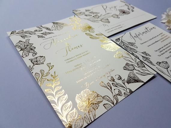Alexandria Gold Foil Wedding Invitation Gold And Ivory Invite