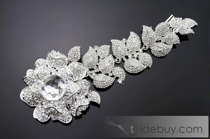 Unique Sunflower Shaped Alloy with Rhinestone Wedding Bridal Tiara