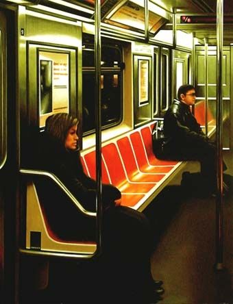 subway painting new york empty seats original art painting by gerard boersma dailypainters. Black Bedroom Furniture Sets. Home Design Ideas