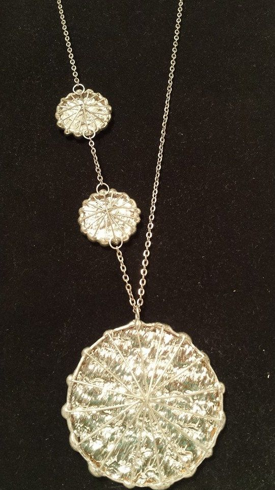 this item used to be clip on earrings with the large pendant.  I took the clip-on's off then added the smaller medallions to the necklace!
