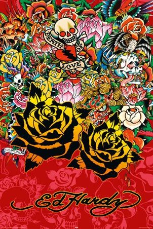 Black Rose  Ed Hardy Poster