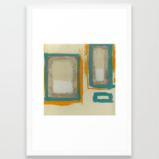 Soft And Bold Rothko Inspired - Modern Art - Teal Blue Orange Beige Framed Art Print by Corbin Henry for Society6. Moma.