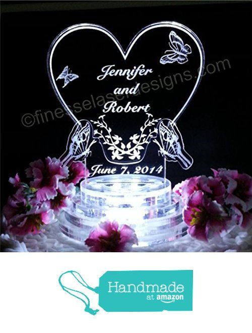 Erfly Wedding Cake Topper Light Up Top Led Heart Acrylic