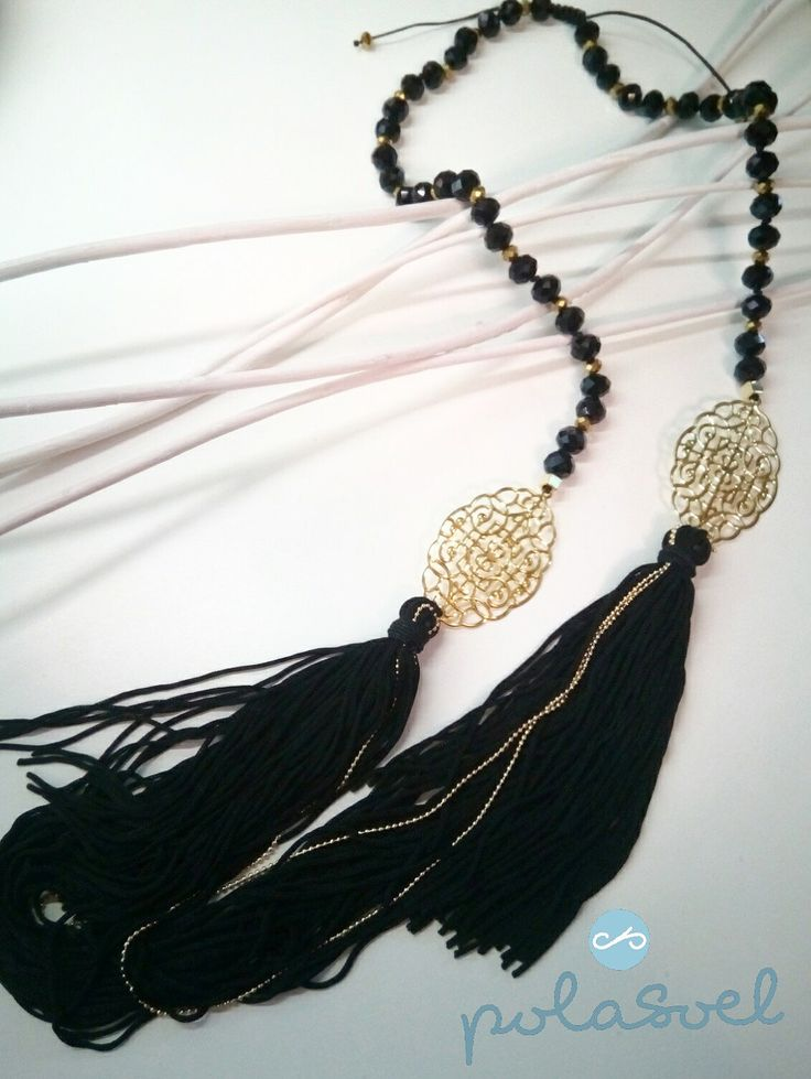 Necklace with gold plated lazer cut elements, iridescent black and gold stones and black floss by polasoeljewelry on Etsy