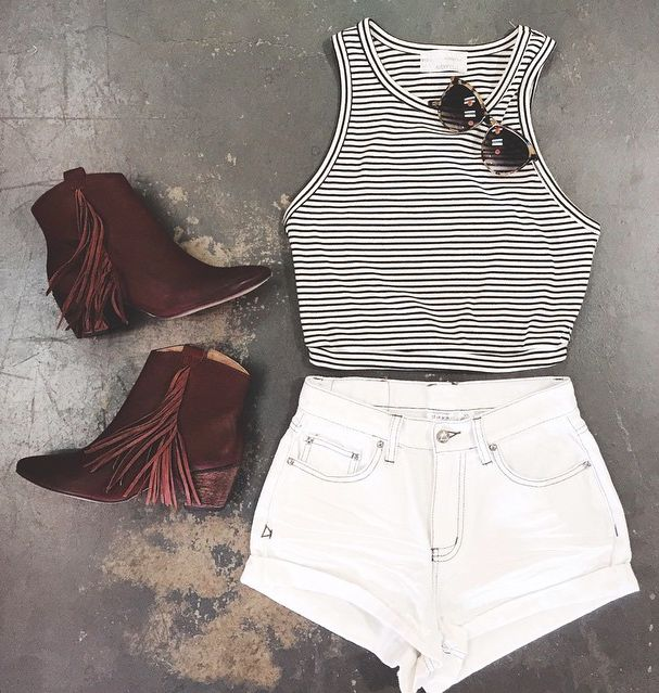 leather boots, crop top and white denim shorts