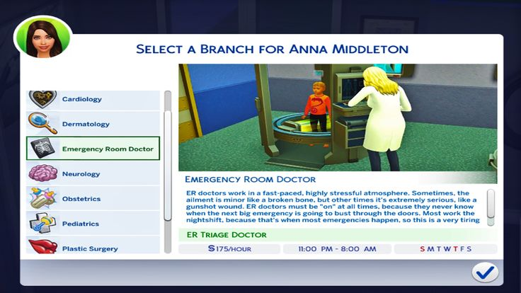Mod The Sims Updated With 3 New Tracks Medical Career Cardiology Pediatrics Plastic Surgery And Dermatology Medical Careers Sims 4 Jobs Sims 4 Traits