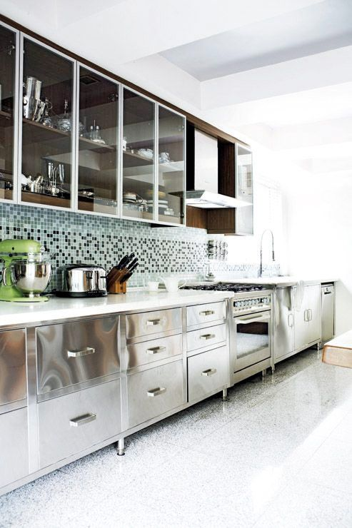 Stainless steel cabinets, glass doors, small tile back splash, color, white, green, black, gray